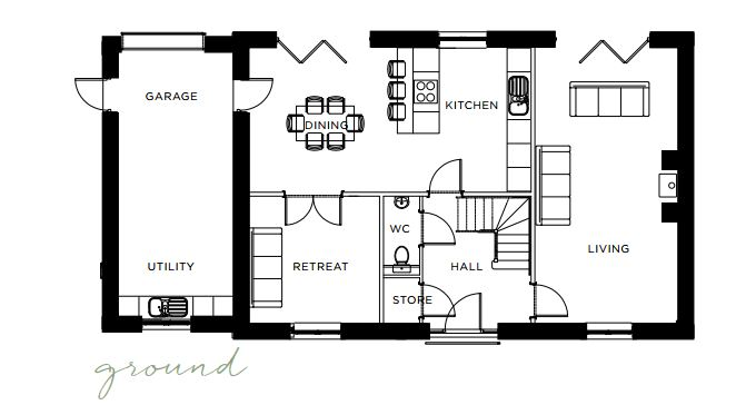 Floorplan of Plot 26, The Warren, Hurst Green, BB7 9QJ